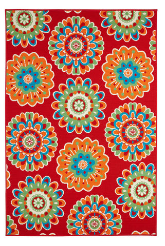 Image of Floral Red Indoor/ Outdoor Area Rug