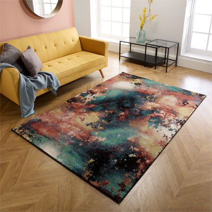 Fleur Pink / Turquoise Floral Area Rug