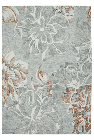 Garden Flower Blue/Grey Area Rug