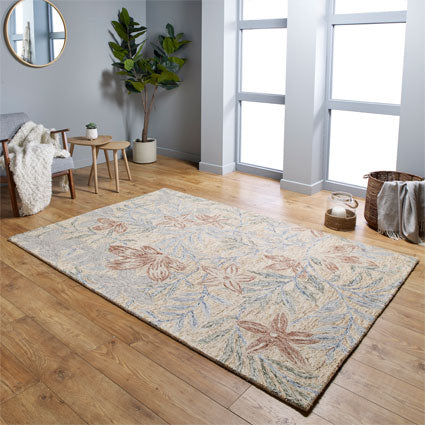 Garden Leaf Beige/Red Area Rug