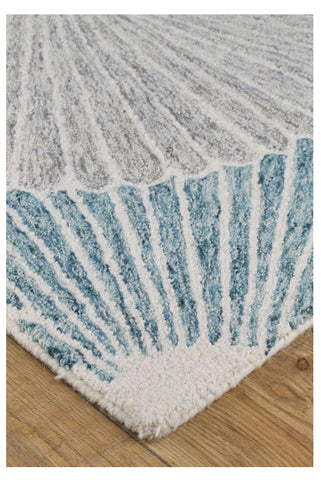 Image of Garden Seashell Blue/Red/Grey Area Rug