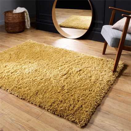 Thick Shaggy Gold Area Rug