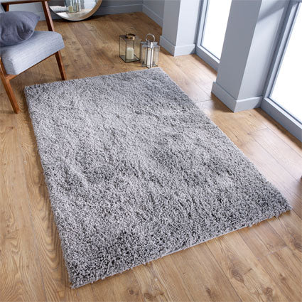 Thick Shaggy Grey Area Rug