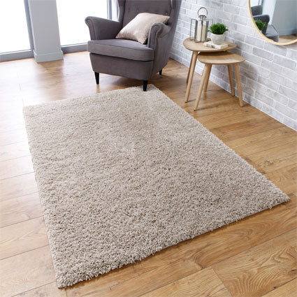 Thick Shaggy Light Beige Area Rug
