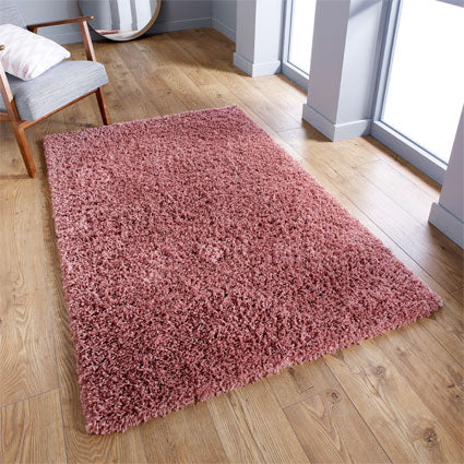 Thick Shaggy Pink Area Rug