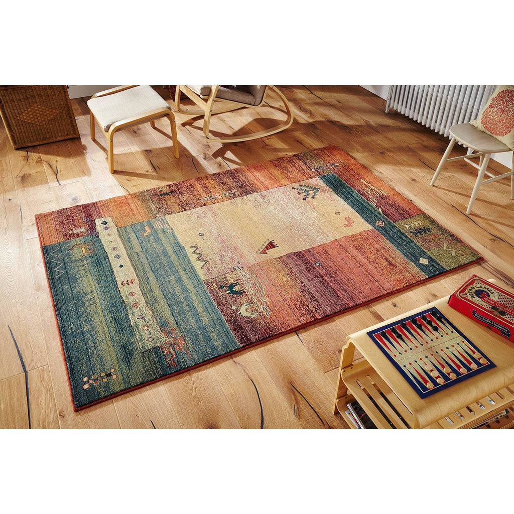 Gabbeh Beige/Blue/Red Area Rug RUGSANDROOMS