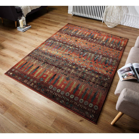 Gabbeh Gold/Rust Area Rug RUGSANDROOMS