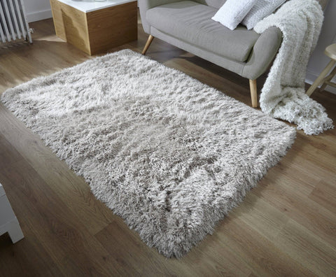 Image of Glitz Silver Shaggy Area Rug RUGSANDROOMS