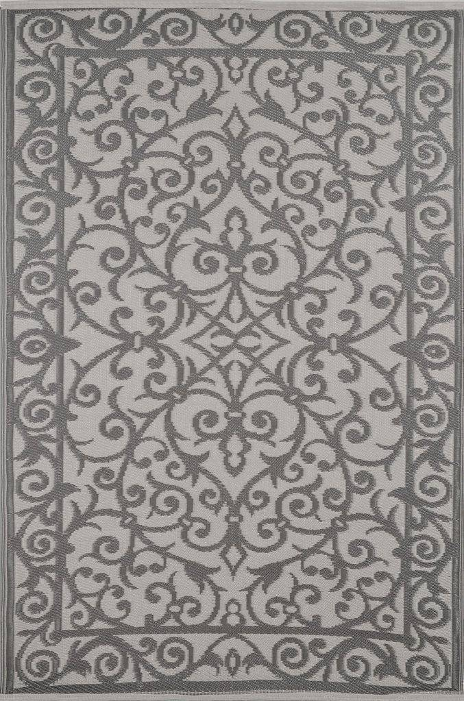 Gala Taupe Grey & Buttercream Indoor-Outdoor Reversible Rug cvsonia