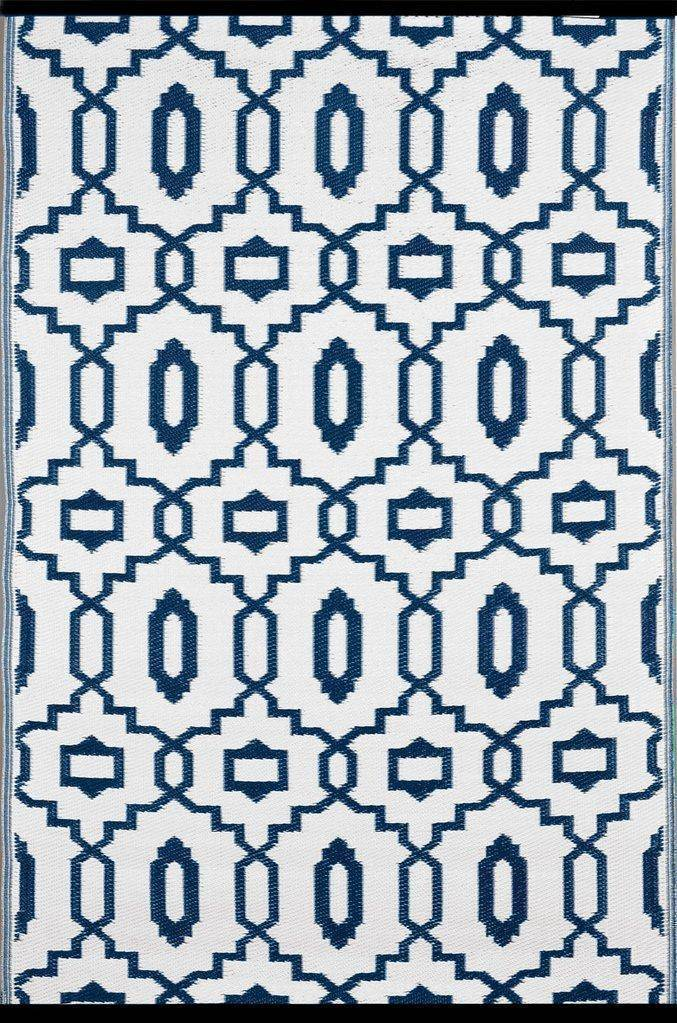 Modern Dark Blue & White Indoor-Outdoor Reversible Rug cvsonia