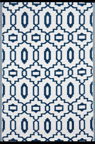 Image of Modern Dark Blue & White Indoor-Outdoor Reversible Rug cvsonia