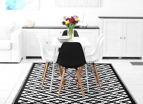 Nirvana Black & White Indoor-Outdoor Reversible Rug cvsonia