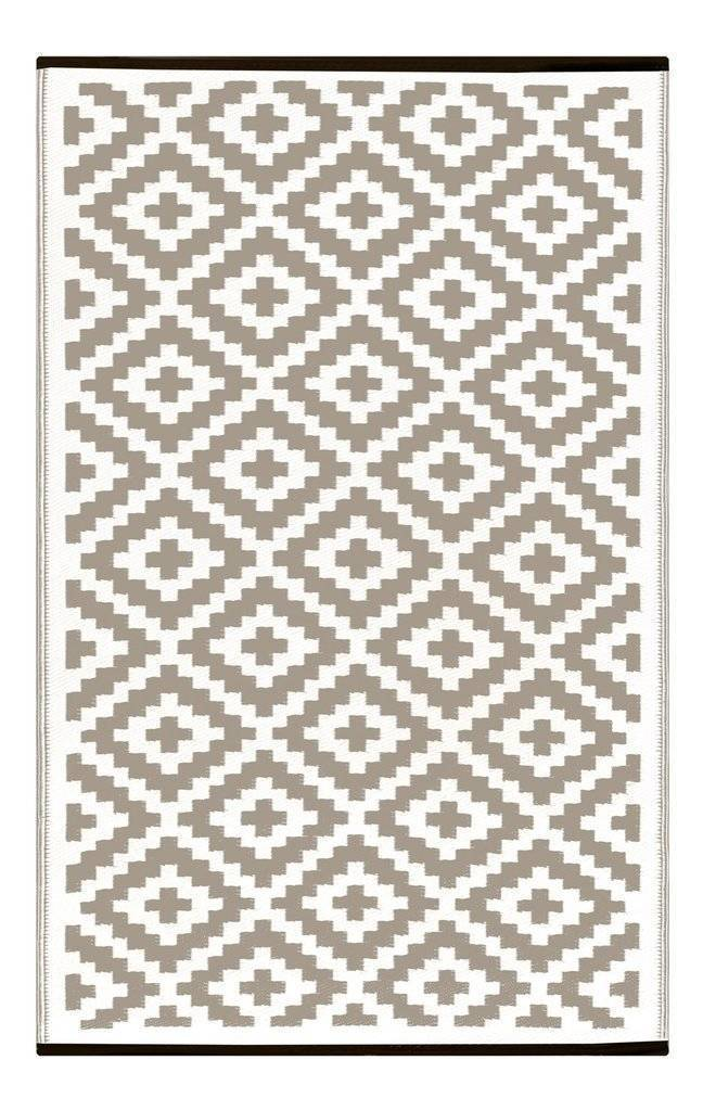 Nirvana Taupe & White Indoor-Outdoor Reversible Rug cvsonia