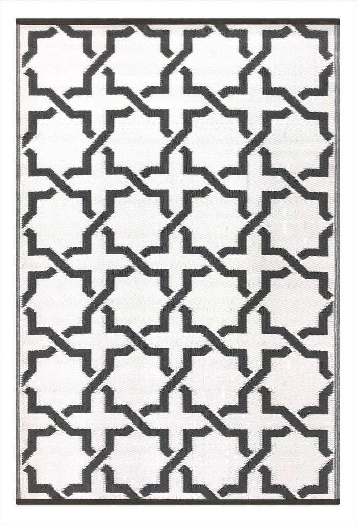 Serene Charcoal Grey & White Indoor-Outdoor Reversible Rug cvsonia