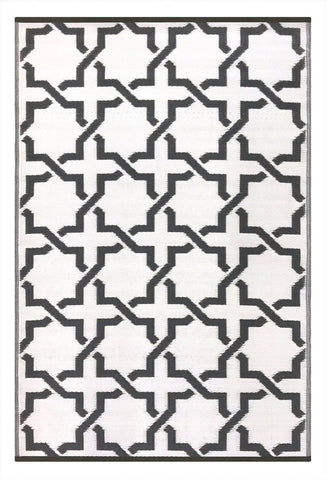 Image of Serene Charcoal Grey & White Indoor-Outdoor Reversible Rug cvsonia