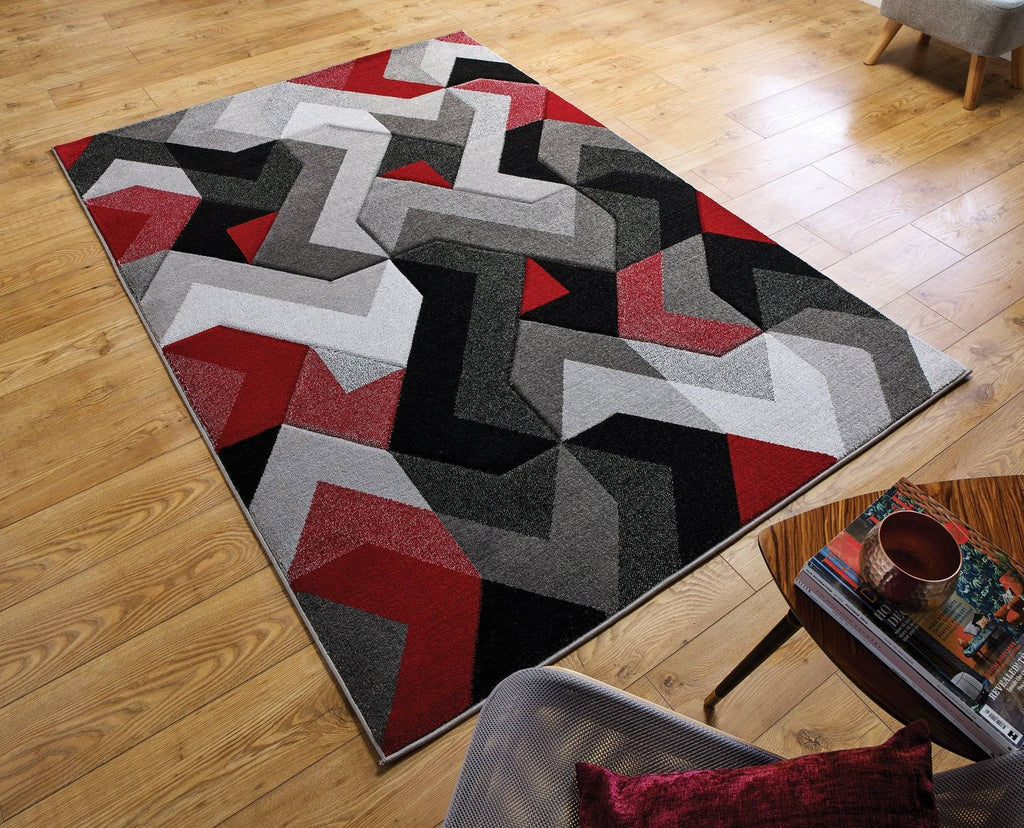 Arna Grey/Red Area Rug RUGSANDROOMS