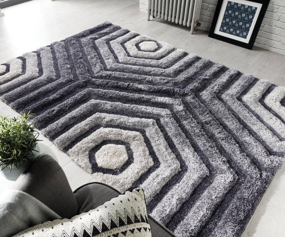 Hexagon Grey Area Rug RUGSANDROOMS