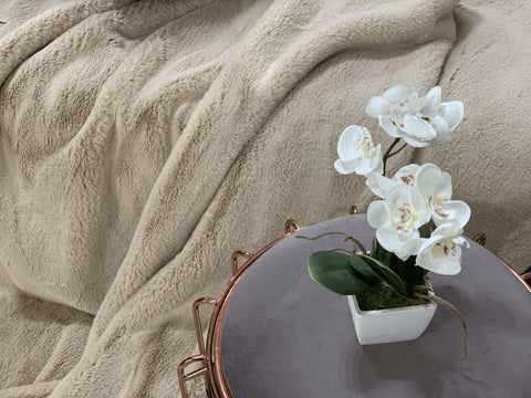 Image of Latte Faux Fur Throw RUGSANDROOMS