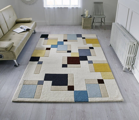 Image of Halle Blue/Ochre Area Rug RUGSANDROOMS