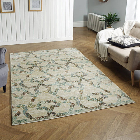 Jas Cream/Gold/ Blue Area Rug RUGSANDROOMS