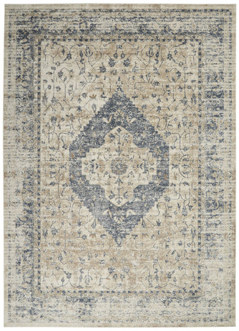 Image of Kathy Ireland Malta Ivory/Blue 11 Area Rug RUGSANDROOMS