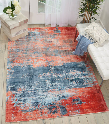 Kathy Ireland Safari Dreams Blue/Brick Area Rug RUGSANDROOMS