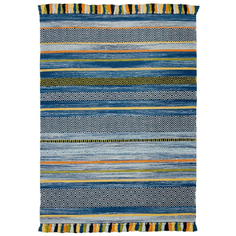 Image of Kelim Stripe Blue Area Rug RUGSANDROOMS
