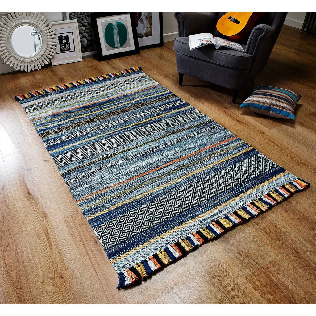 Kelim Stripe Blue Area Rug RUGSANDROOMS