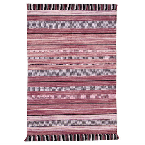 Image of Kelim Stripe Pink Area Rug RUGSANDROOMS