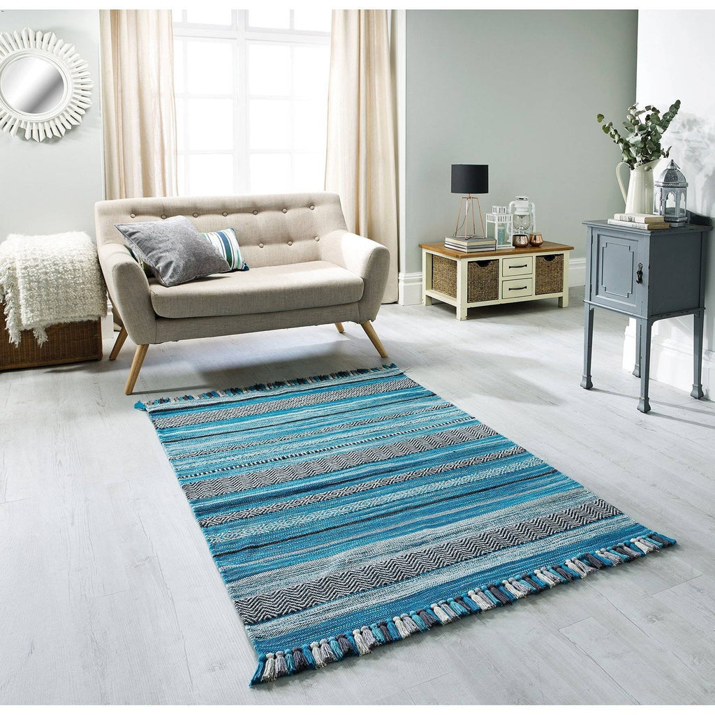 Kelim Striped Teal Area Rug RUGSANDROOMS