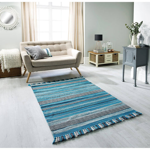 Image of Kelim Striped Teal Area Rug RUGSANDROOMS