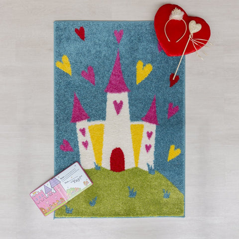 Image of Kid's Princess Castle Area Rug RUGSANDROOMS