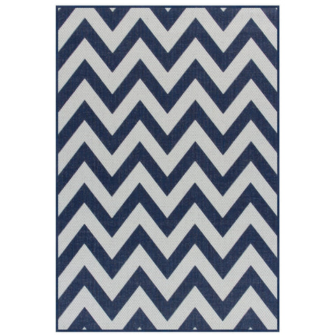 Moda Chevron Blue Area Rug RUGSANDROOMS