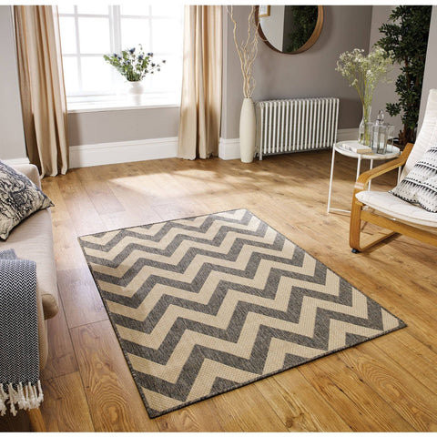Moda Chevron Grey Area Rug RUGSANDROOMS