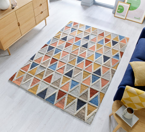Triangle Orange and Blue Area Rug