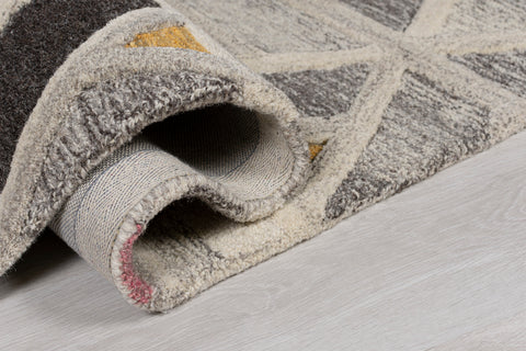 Image of Thick Ombre Grey and Multi Geometric Area Rug