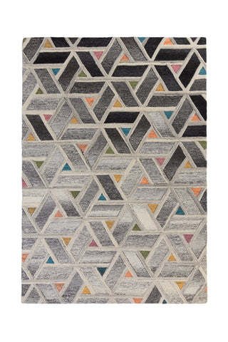 Thick Ombre Grey and Multi Geometric Area Rug