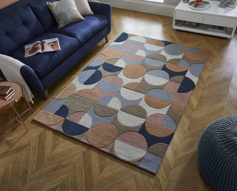 Jasper Blue/Coral Multi Area Rug