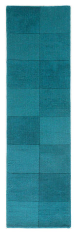 Image of Wool Squares Teal Area Rug RUGSANDROOMS