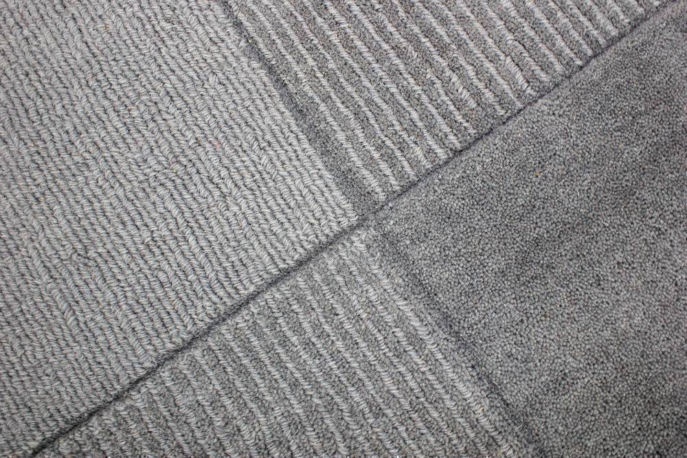 Wool Squares Light Grey Area Rug RUGSANDROOMS