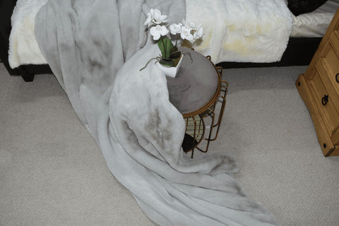 Image of British Shorthair Grey Faux Fur Throw RUGSANDROOMS