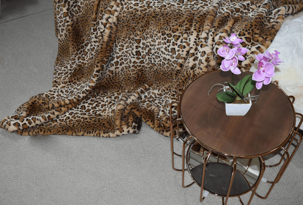 Jaguar Print Faux Fur Throw RUGSANDROOMS