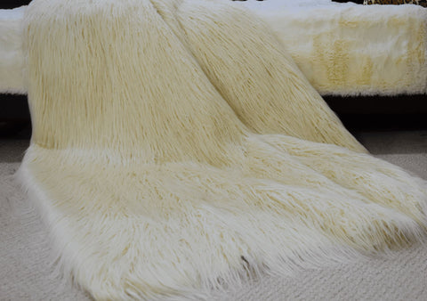 Image of Afghan Ivory Faux Fur Throw RUGSANDROOMS