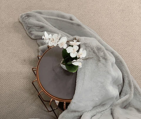 British Shorthair Grey Faux Fur Throw RUGSANDROOMS