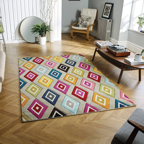 Image of Bay Multi-coloured Area Rug RUGSANDROOMS