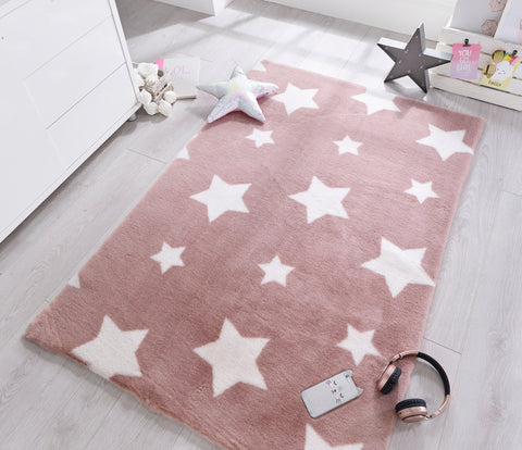 Image of Candy Floss Pink Stars Area Rug