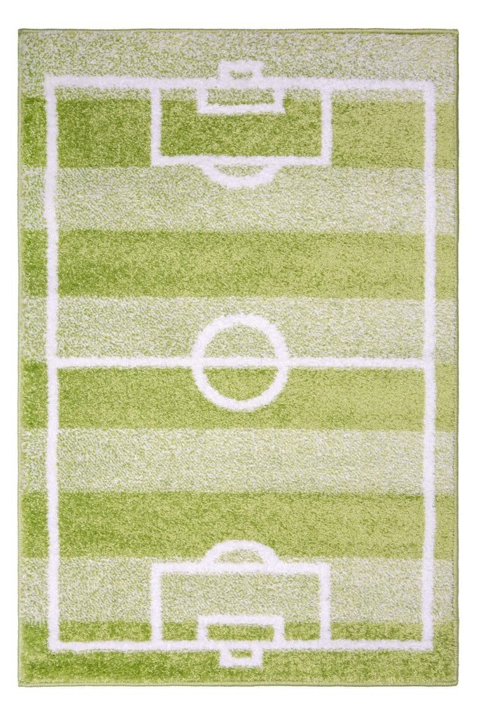 Kid's Football Pitch Green Area Rug RUGSANDROOMS