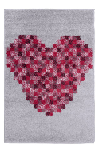 Kid's Pixel Heart Area Rug RUGSANDROOMS