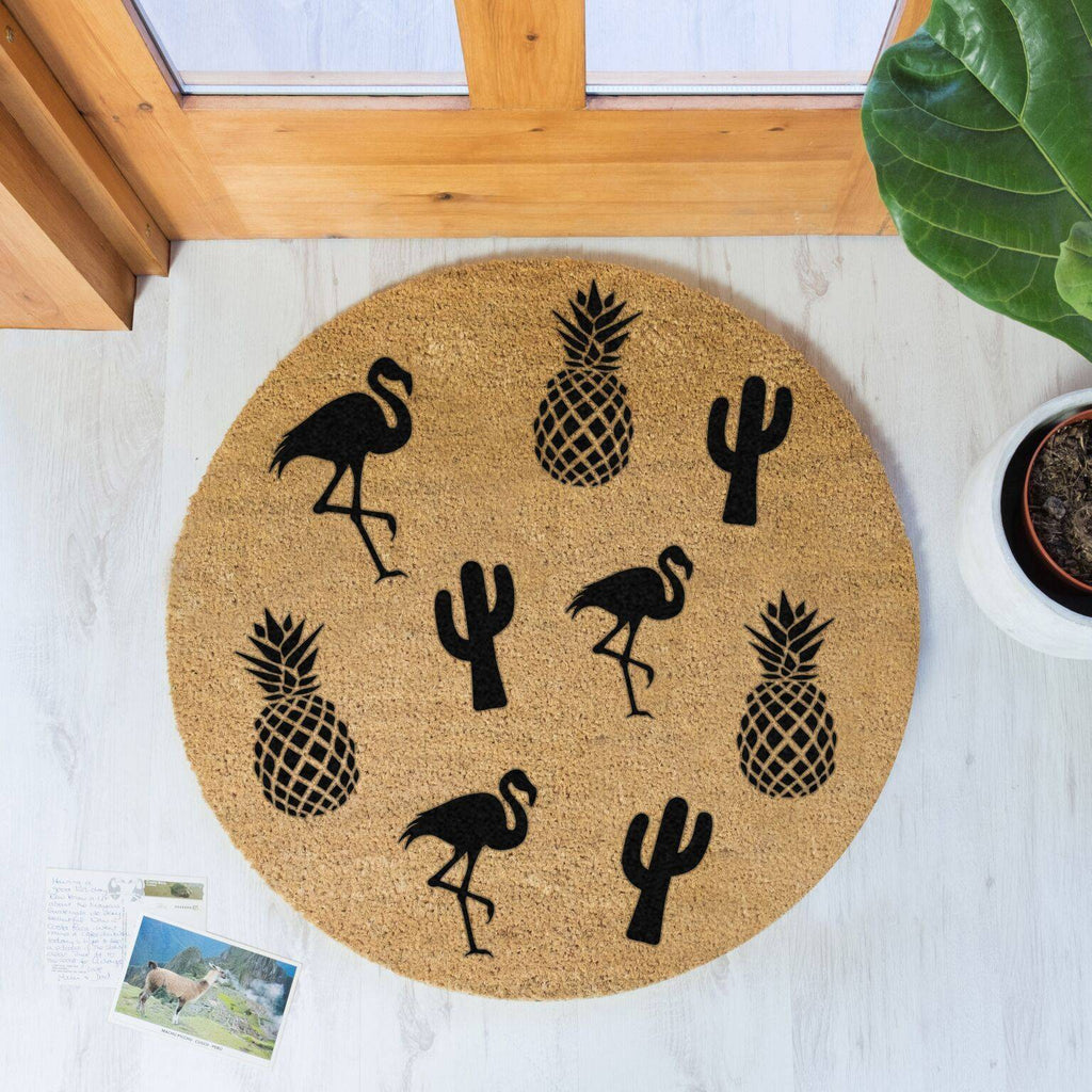Pineapple Circle Doormat RUGSANDROOMS