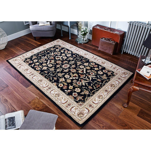 Image of Traditional Black Area Rug RUGSANDROOMS